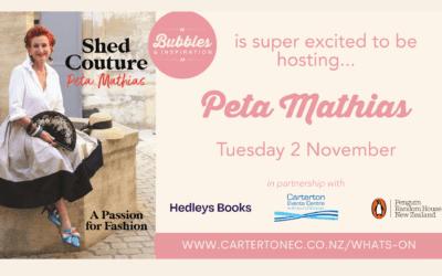 Bubbles & Inspiration – Peta Mathias – Tuesday 2 November – 6.30pm